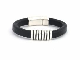 Heren armband van Regaliz leer zwart met boogkraal gestreept