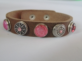leren armband 5 minidrukkers zilver/roze