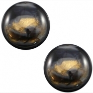 Slider zilver met cabochon horys shiny night sky black
