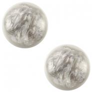 Slider zilver met cabochon pearl shine grijs wit