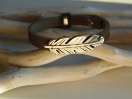 Cuoio armband bruin veer