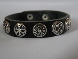 leren armband 5 minidrukkers zilver/zwart