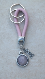 Sleutelhanger stiched roze