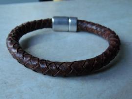 Leer rond gevlochten armband vintage donker bruin