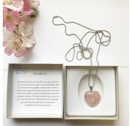Stainless steel ketting met hart van rozenkwarts