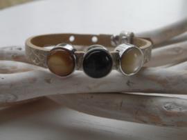 Cuoio armband kroko metallic