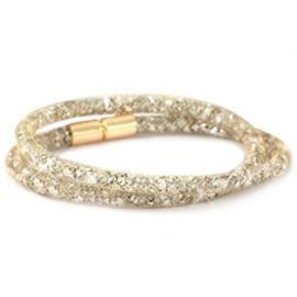 Armband dubbel met kristal facet goud/ zilver