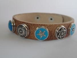 leren armband 5 minidrukkers turquoise/zwart