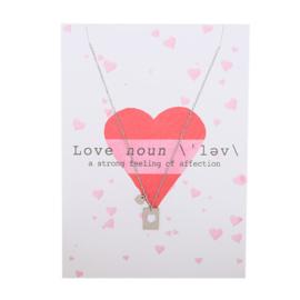 Post card love + stainless steel kettinkje zilver