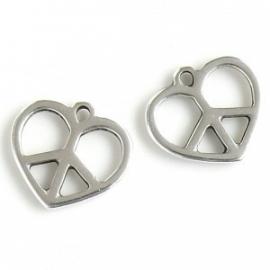 DQ metalen bedel hart peace
