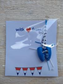 Sleutel/tashanger klompjes blauw