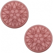Slider zilver met cabochon winter star plat matt antique pink