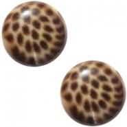 Slider zilver met cabochon leopard brown