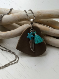 Ketting hart taupe