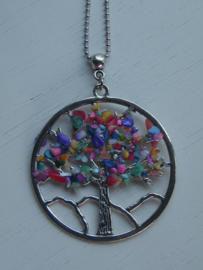 Lange ketting tree of life multi color