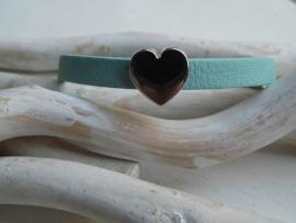 Cuoio armband licht blauw hart