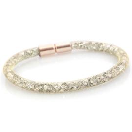 Armband met kristal facet gold zilver shade