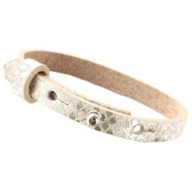 Cuoio armband leer snake metallic white grey