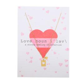 Post card love + stainless steel kettinkje goud