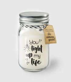 Geurkaars in pot met tekst - you light up my life