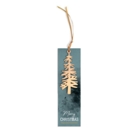 Label met houten kerstboom