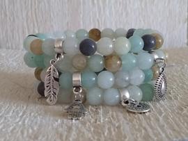 Armband natuur steen Jade multi colour soft blue