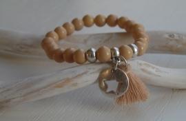 Kralen armband beige brown