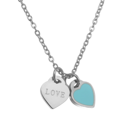 Stainless steel ketting love zilver