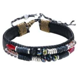 Armband leather beads zwart