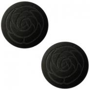 Slider zilver met cabochon rose matt nero zwart
