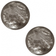 Slider zilver met cabochon jais taupe brown