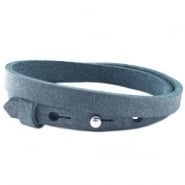 Cuoio armband dubbel mist blue