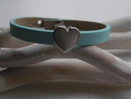 Cuoio armband blauw met schuiver