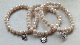 Armband silk beige opaque facets