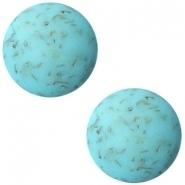 Slider zilver met cabochon flake turquoise blue