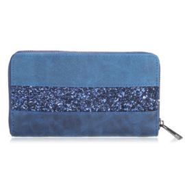 Portemonnee glitter lines blauw