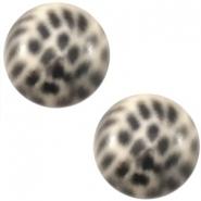 Slider zilver met cabochon leopard silk beige