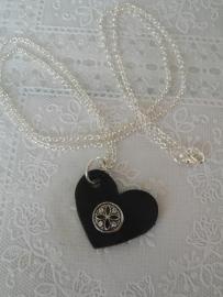 Lange ketting met leren hart zwart + 1 minidrukker 12mm