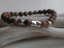 Armband half edelsteen grain stone brown