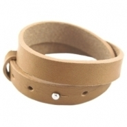 Cuoio armband dubbel mustard brown