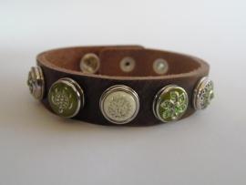 leren armband 5 minidrukkers groen/off white