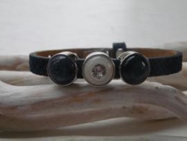 Cuoio armband kroke blauw Swarovski