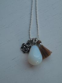 Lange ketting opalite white