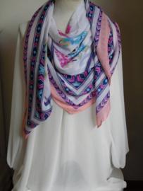 Vierkante sjaal bloem wit