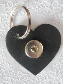 sleutel /tas hanger hart  zwart                        th005
