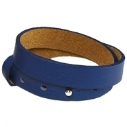 Cuoio armband dubbel dark blue