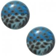 Slider zilver met cabochon leopard blue