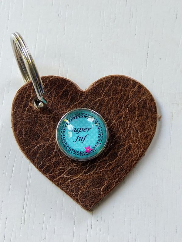 Sleutelhanger hart super juf blauw
