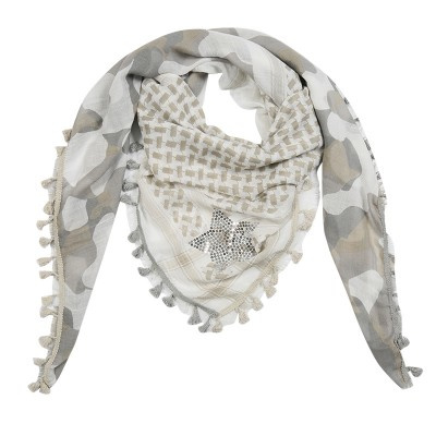 Sjaal star camouflage beige