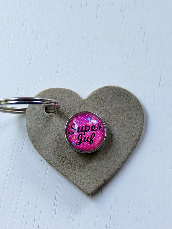 Sleutelhanger hart super juf roze